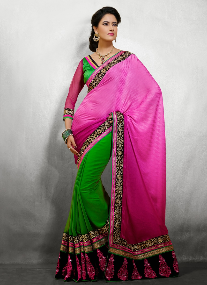 Beautiful Patch And Resham Work Half N Half Saree