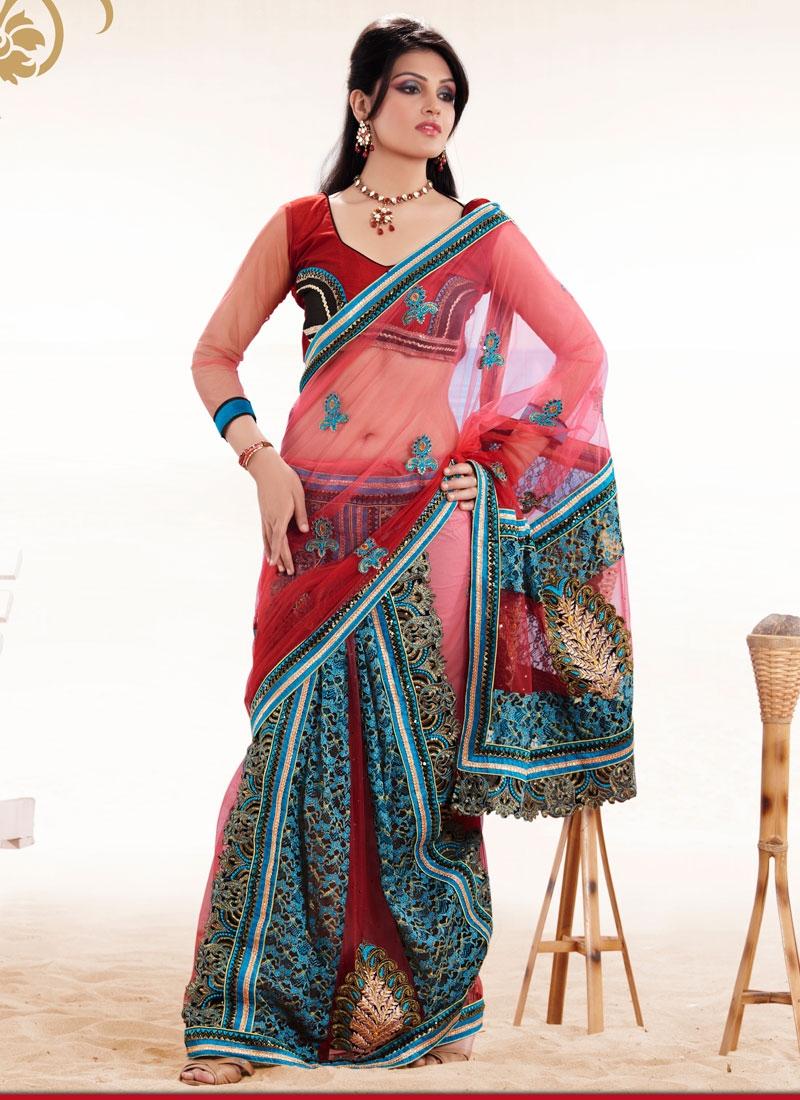 Beautiful Red And Teal Jacquard Net Saree