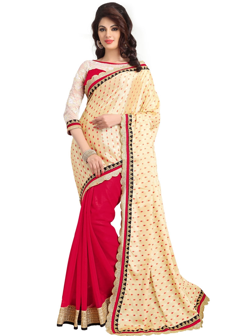 Beautiful Red Color Reaham Work Party Wear Saree