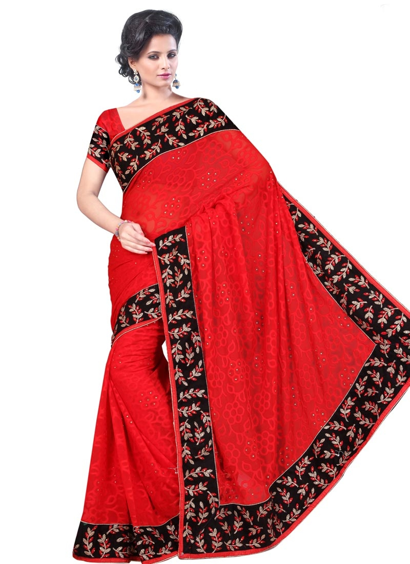 Beautiful Red Color Stone Work Party Wear Saree