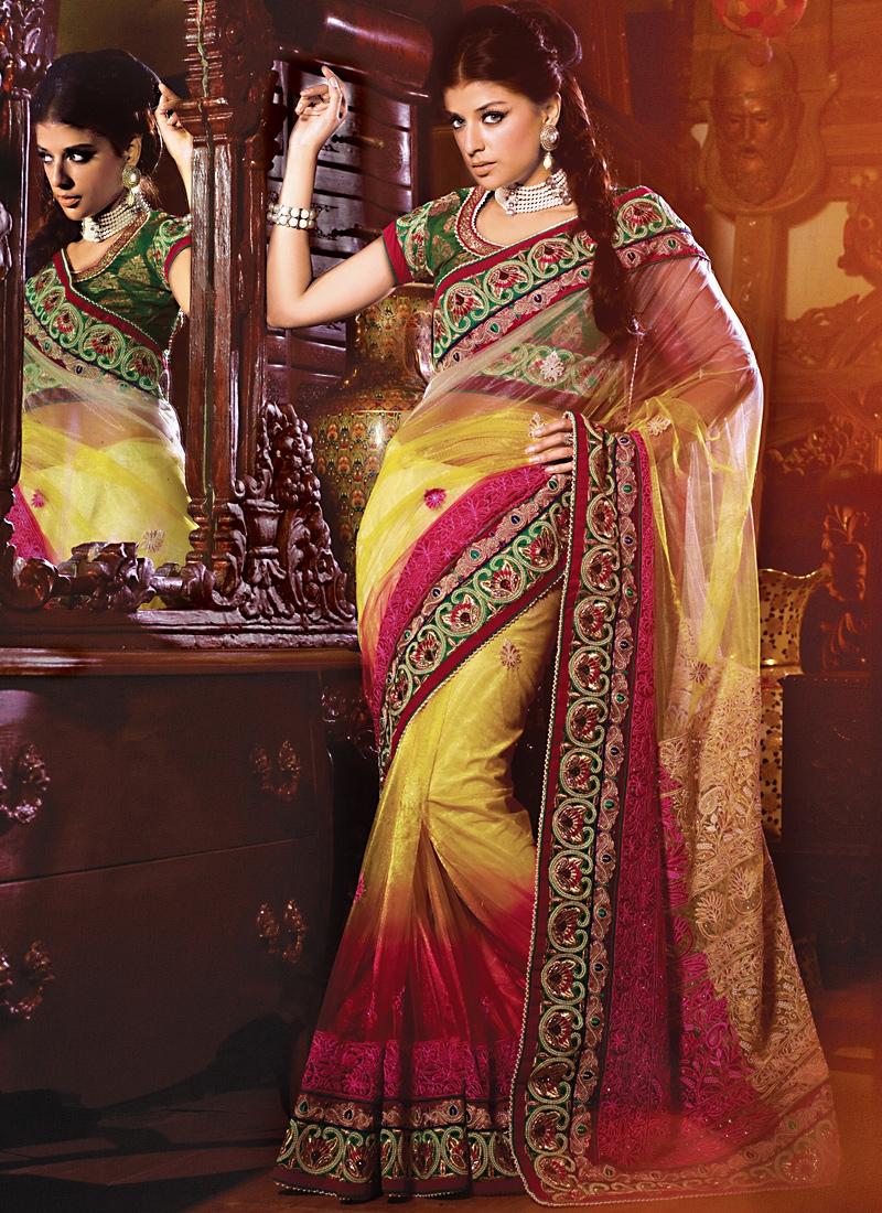 Beautiful Rose Pink And Gold Net Saree