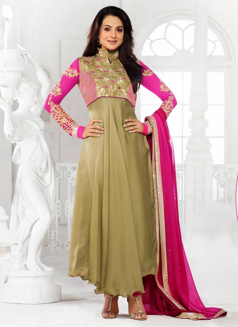 Beautiful Stone Work Amisha Patel Bollywood Suit
