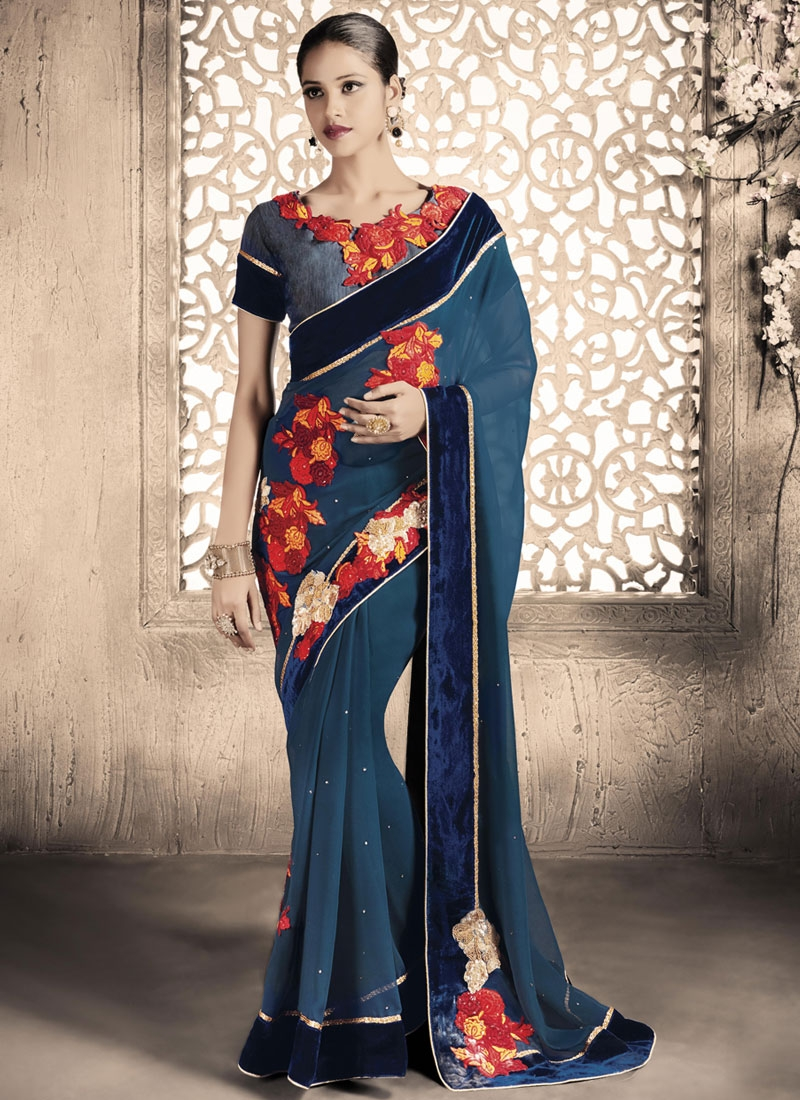 Beckoning Beads And Floral Work Party Wear Saree