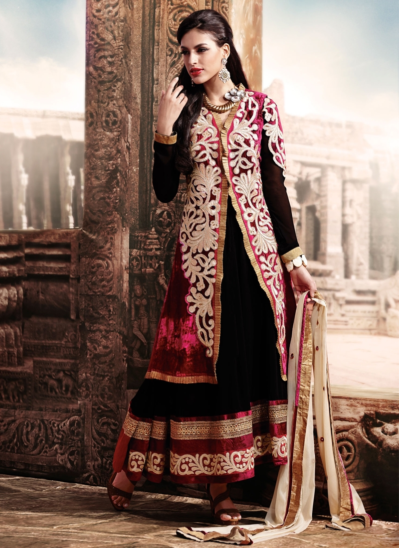 Beckoning Black And Red Designer Salwar Suit