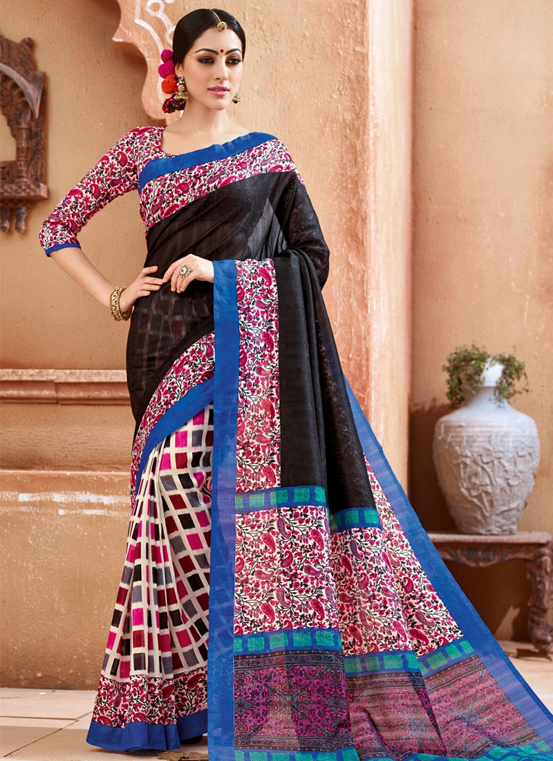 Beckoning Black Color Half N Half Casual Saree