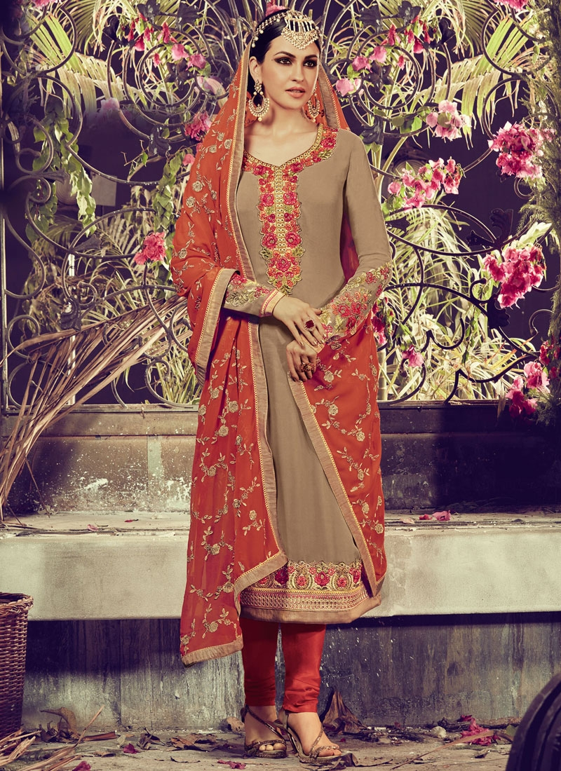 Beckoning Booti Work Faux Georgette Party Wear Salwar Kameez