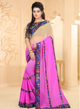 Beckoning Faux Georgette Beige and Magenta Abstract Print Work Traditional Designer Saree