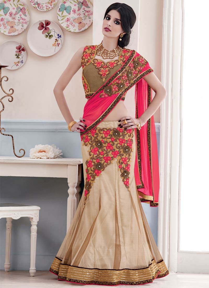 Beckoning Floral Work Bridal Lehenga Saree