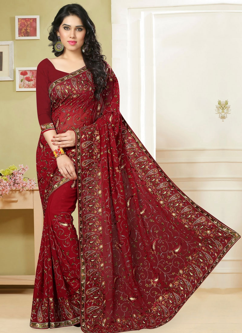 Beckoning Lace Work Faux Georgette Designer Saree