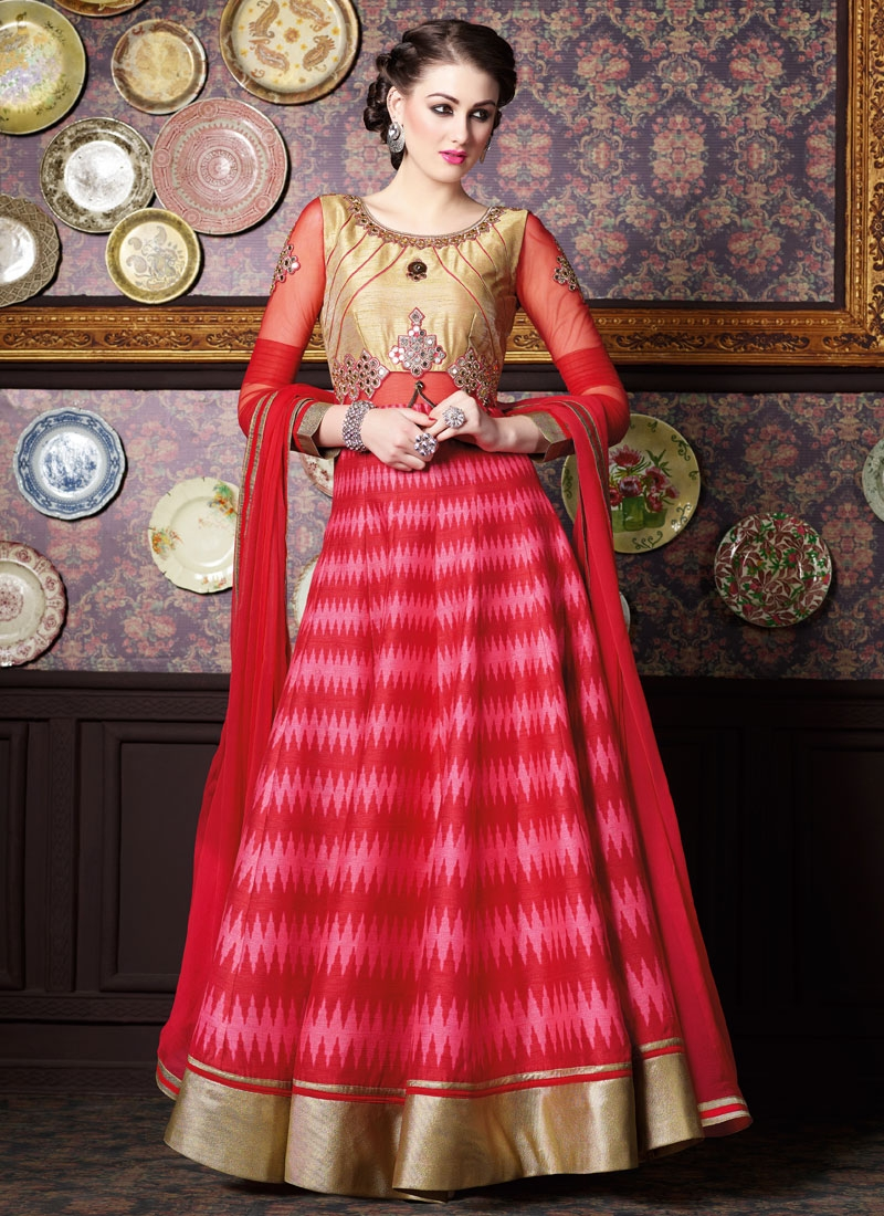 Beckoning Mirror Work Long Length Designer Salwar Kameez