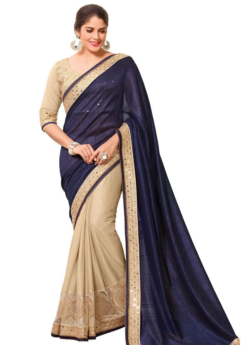 Beckoning Mirror Work Silk Half N Half Designer Saree