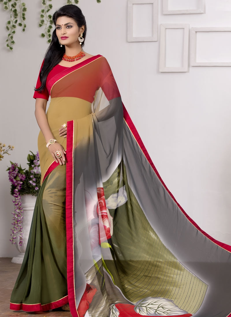 Beckoning Olive And Grey Color Casual Saree