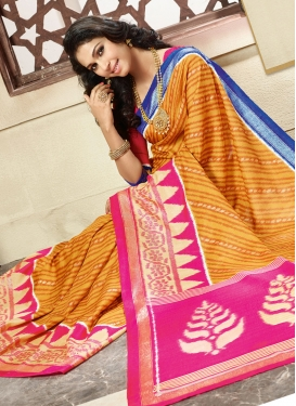 Beckoning Orange Color Casual Saree