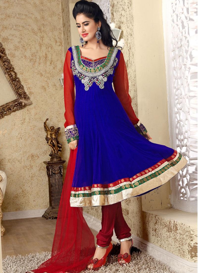 Beckoning Red And Blue Salwar Kameez