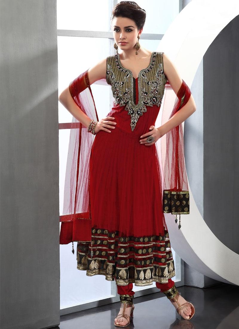 Beckoning Red Color Readymade Salwar Kameez