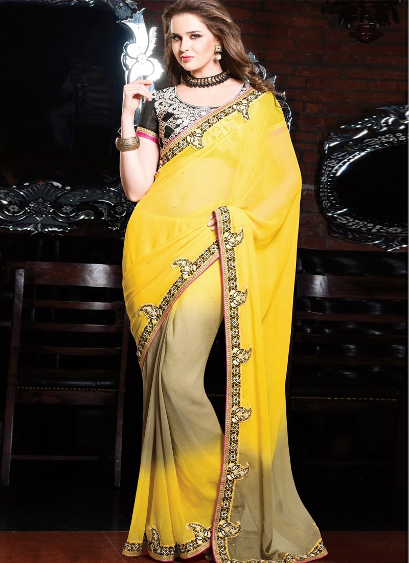 Beckoning Yellow And Beige Color Lace Work Party Wear Saree