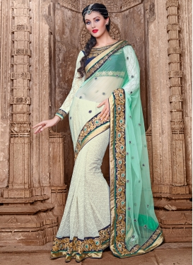 Bedazzling Beads Work Jacquard And Net Half N Half Designer Saree