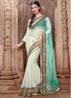 Bedazzling Beads Work Jacquard And Net Half N Half Designer Saree