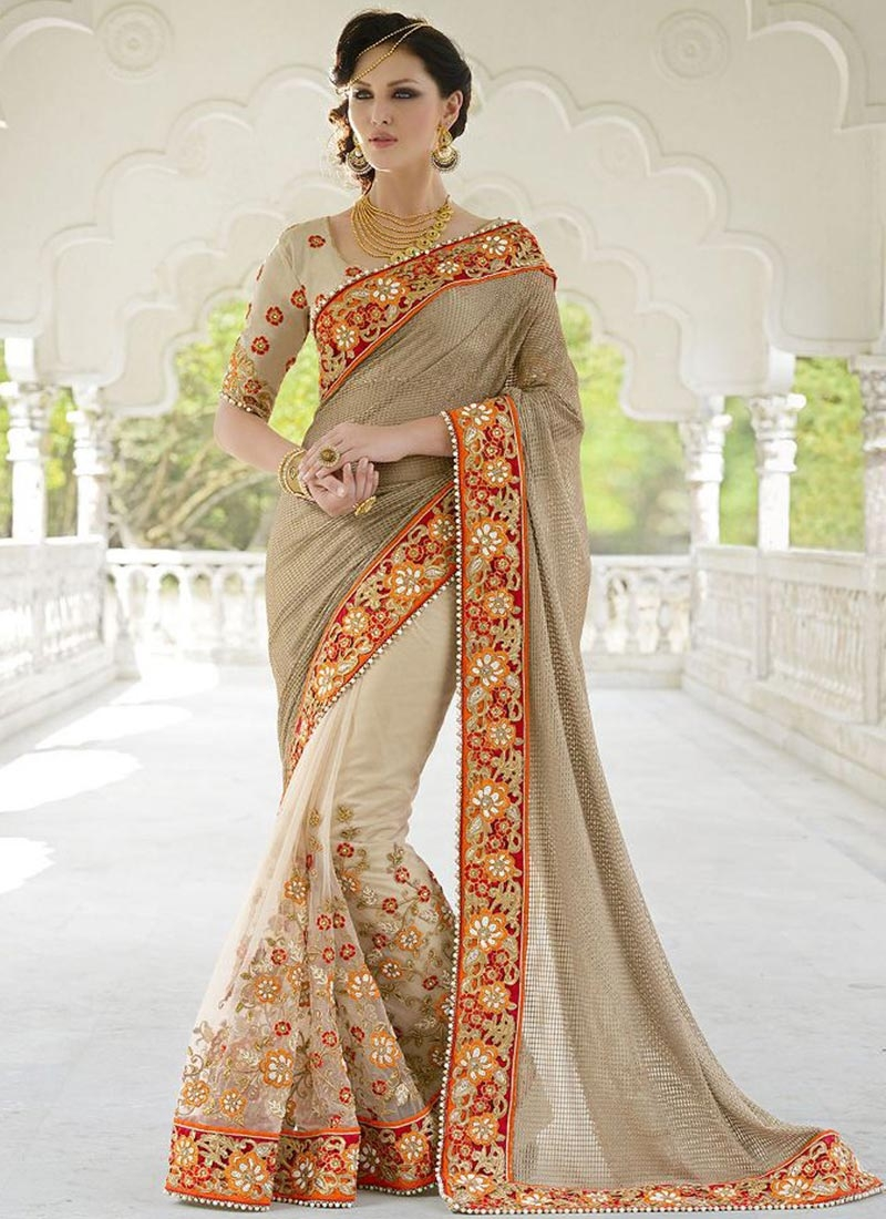 Bedazzling Beige Color Beads Work Wedding Saree