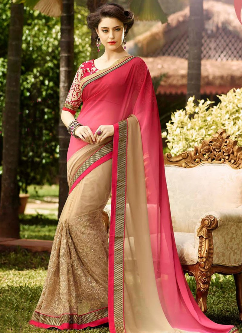 Bedazzling Beige Color Net Half N Half Party Wear Saree