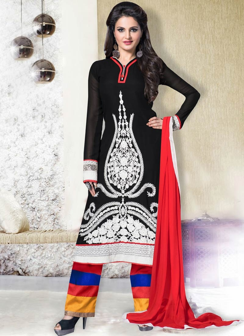 Bedazzling Black Color Resham Work Palazzo Style Party Wear Suit