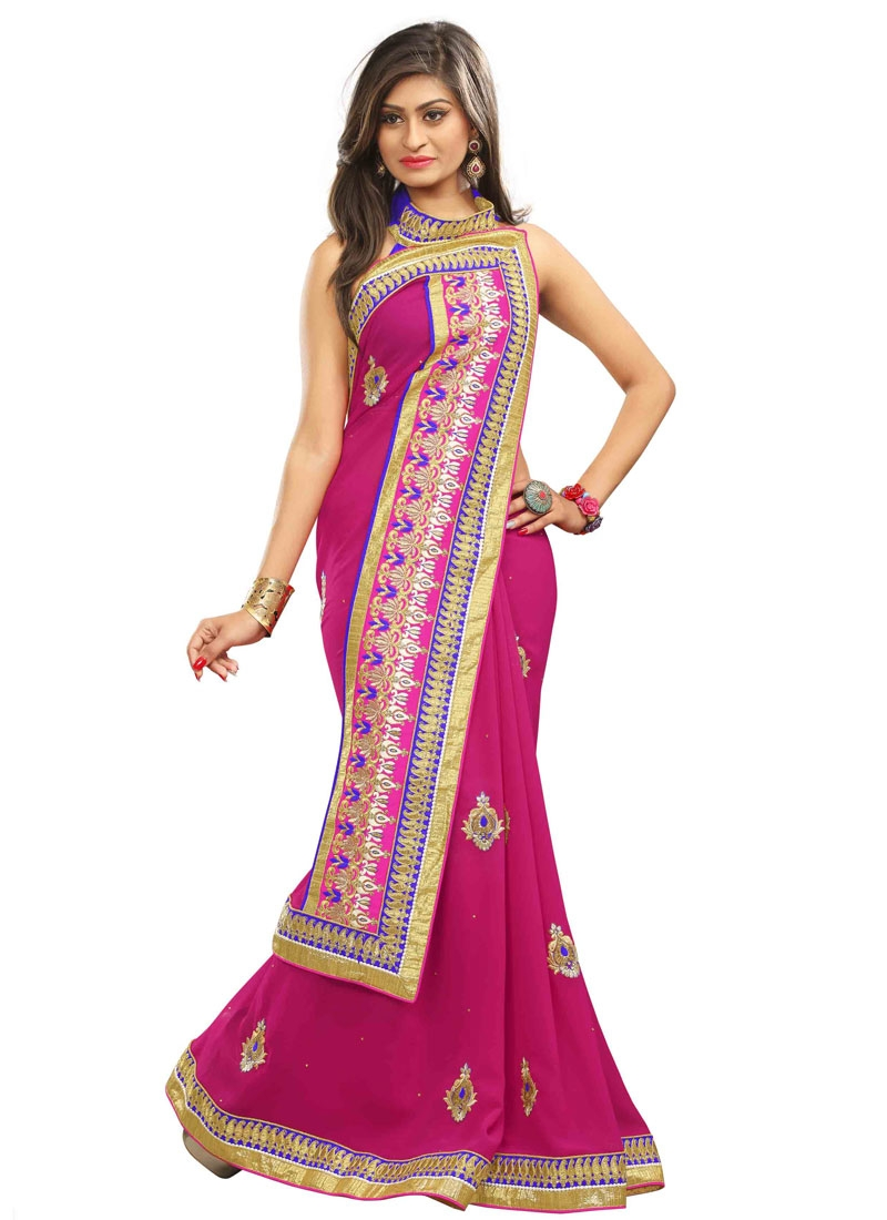 Bedazzling Booti Work Rose Pink Color Party Wear Saree