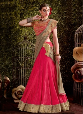 Bedazzling Brown and Rose Pink Designer Lehenga Style Saree