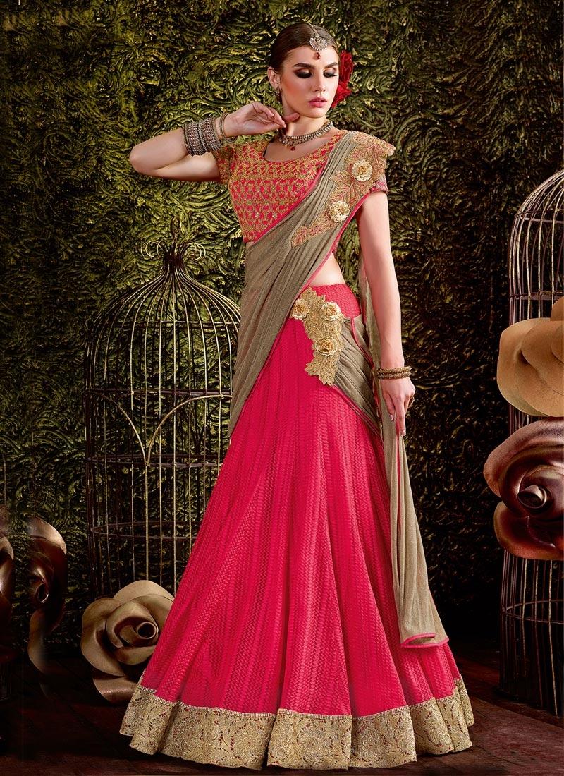 65bc0221ba Buy Bedazzling Brown and Rose Pink Designer Lehenga Style Saree Online