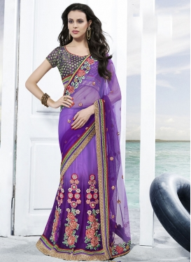 Bedazzling Floral Work Net Lehenga Saree