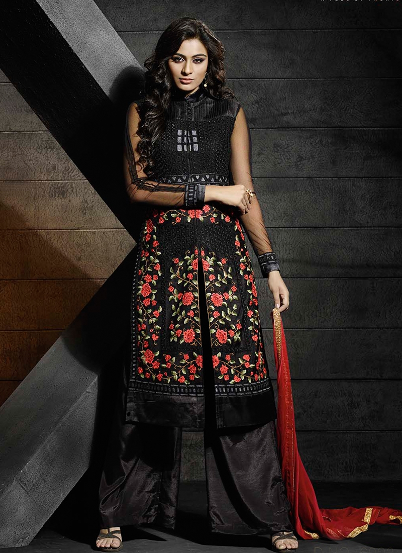 Bedazzling Floral Work Palazzo Style Designer Suit