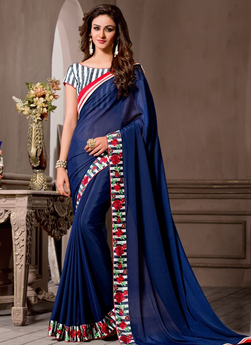 Bedazzling Floral Work Party Wear Saree