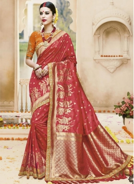 Bedazzling Jacquard Silk Trendy Classic Saree