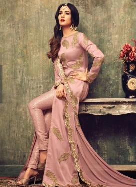 Bedazzling Lace Work Net Pant Style Designer Salwar Kameez