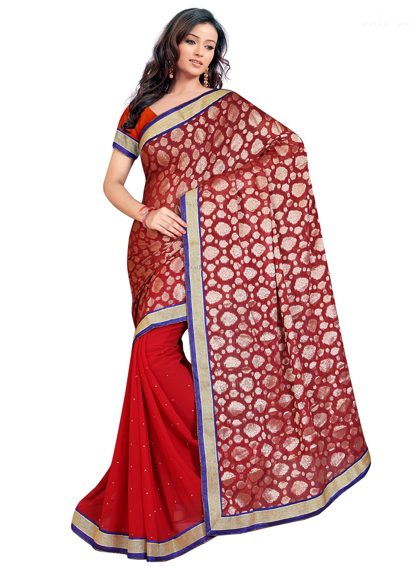 Bedazzling Red Color Viscose Half N Half Casual Saree