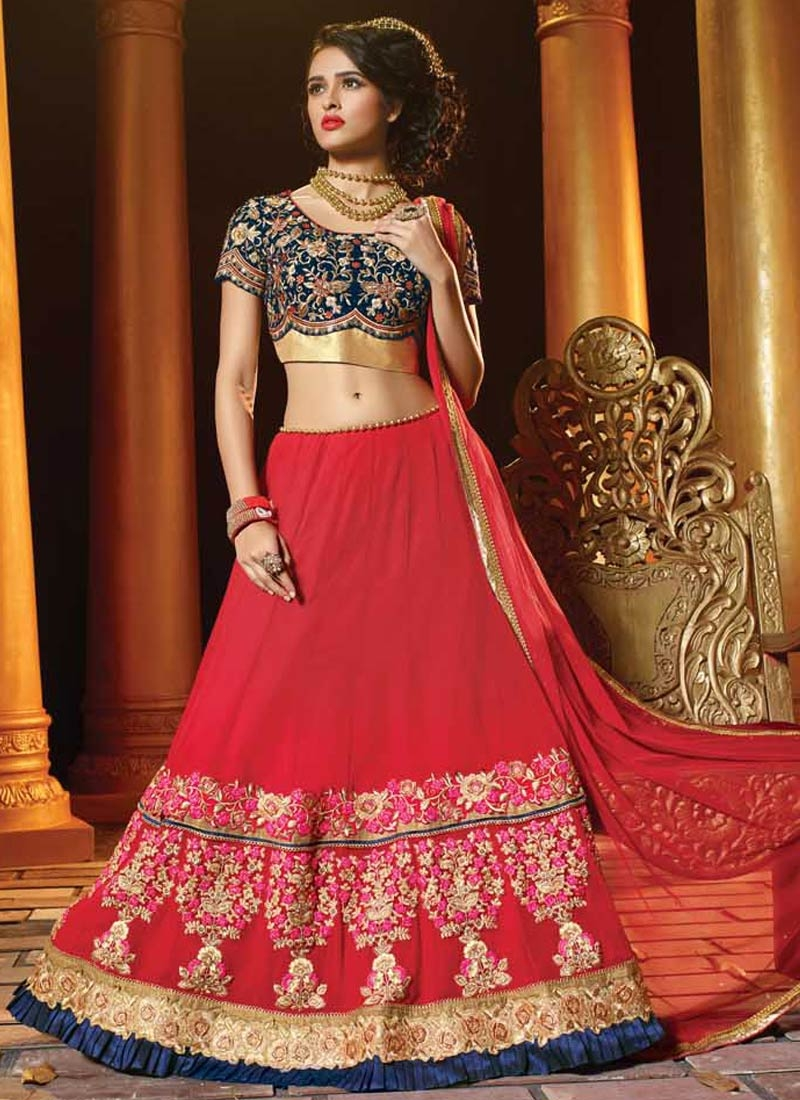 Bedazzling Red Color Viscose Wedding Lehenga Choli