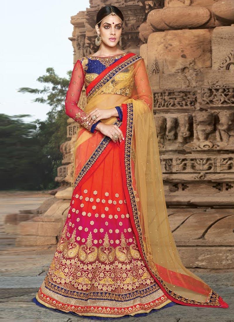 Bedazzling Resham And Stone Work Wedding Lehenga Choli
