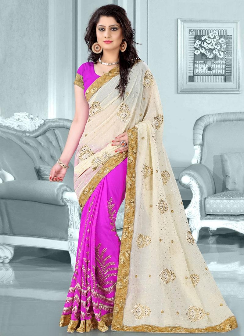 Bedazzling Resham Work Crush Half N Half Designer Saree
