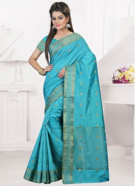Bedazzling Resham Work Light Blue Classic Saree