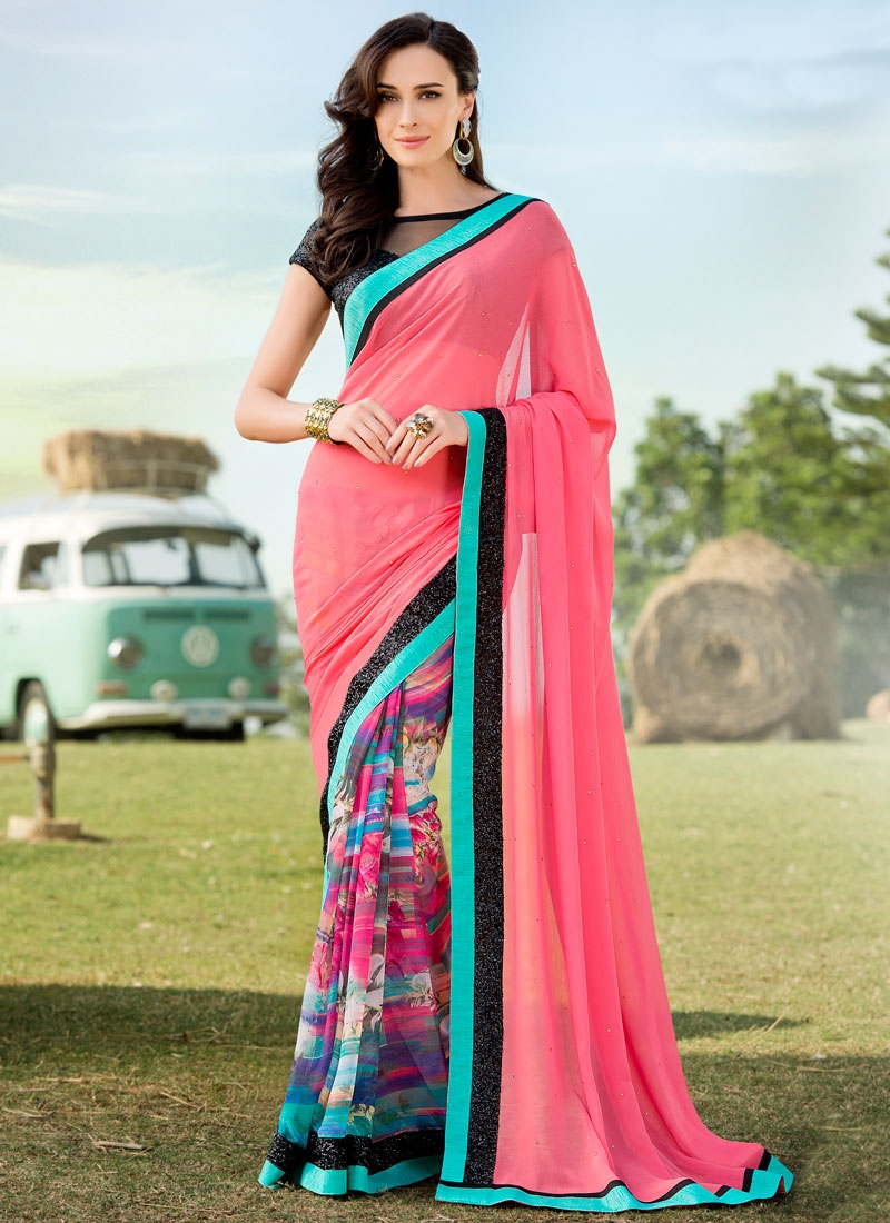 Bedazzling Sequins And Lace Work Half N Half Party Wear Saree