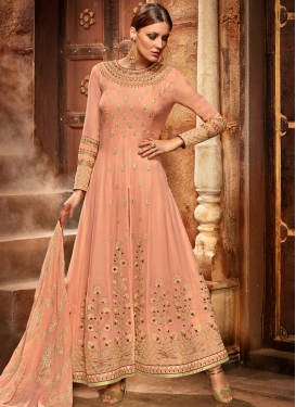 Beguiling Embroidered Work Peach Faux Georgette Long Length Designer Suit