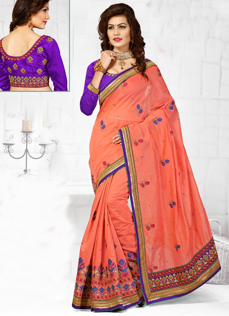 Beguiling Embroidery And Stone Work Wedding Saree