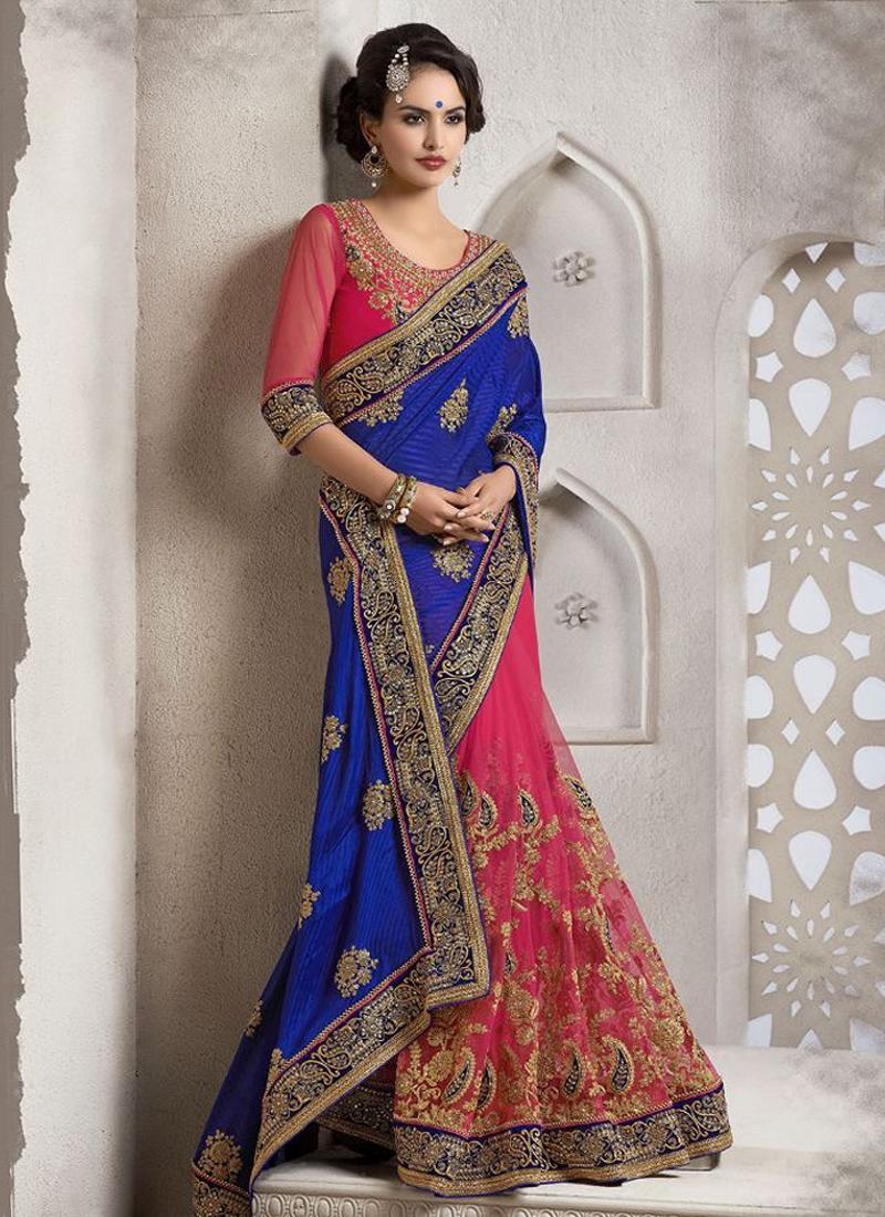 Beguiling Embroidery Work Half N Half Wedding Saree