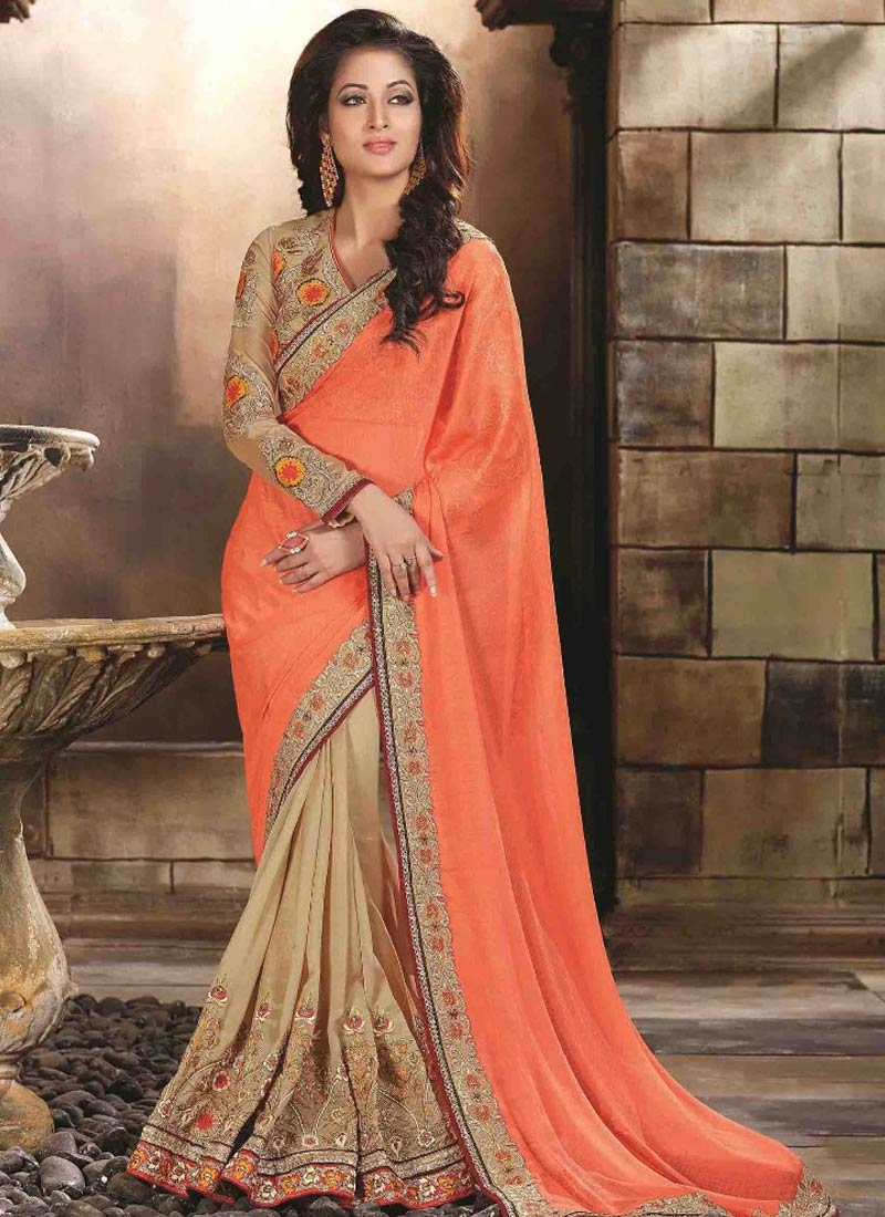 Beguiling Faux Chiffon And Silk Half N Half Wedding Saree