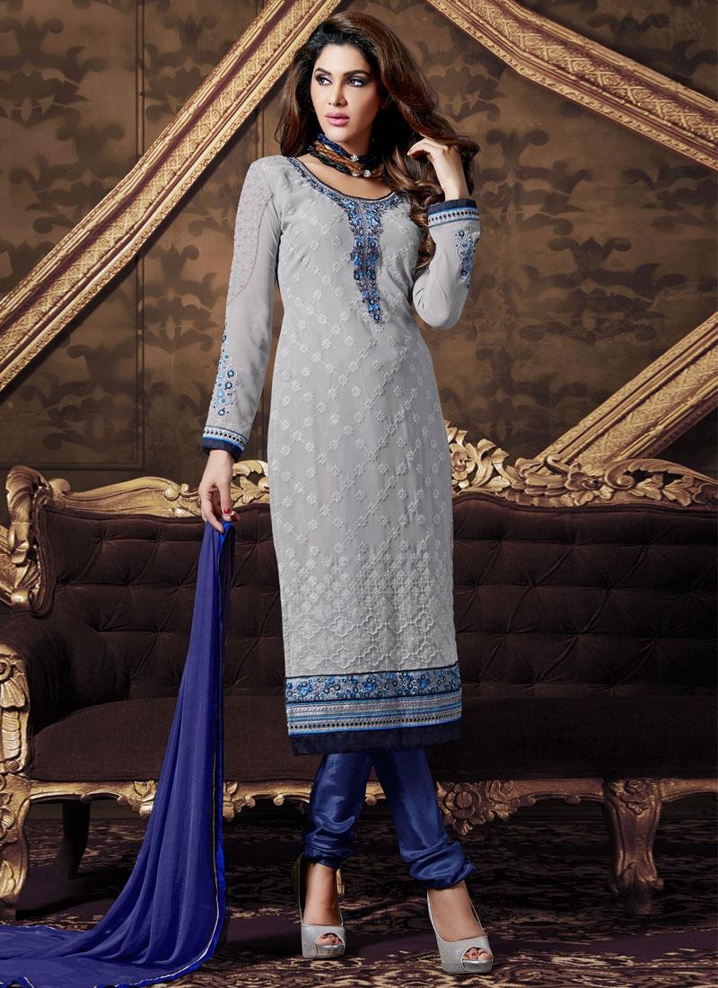 Beguiling Faux Georgette Churidar Salwar Suit