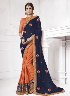 Beguiling Faux Georgette Coral and Navy Blue Half N Half Trendy Saree For Party