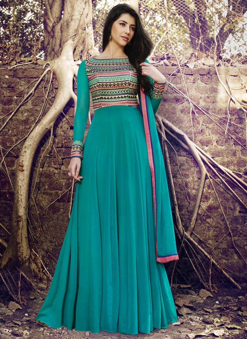 Beguiling Faux Georgette Cream and Teal Floor Length Anarkali Suit