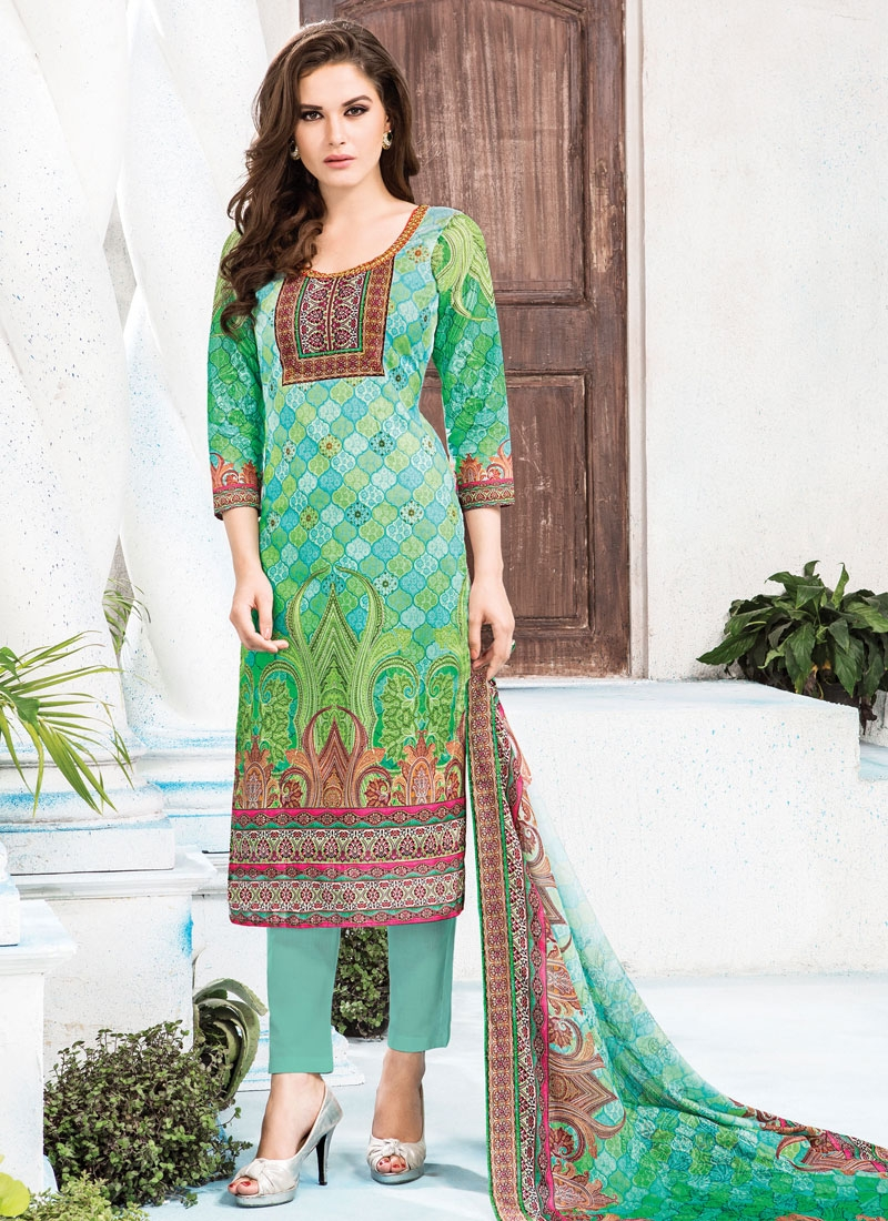 Beguiling Green Color Pant Style Party Wear Salwar Suit