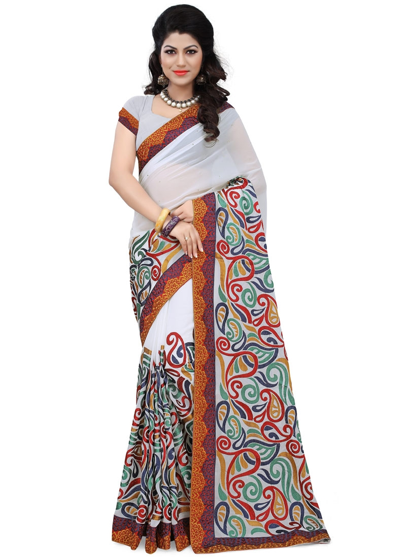 Beguiling Lace And Stone Work Designer Saree