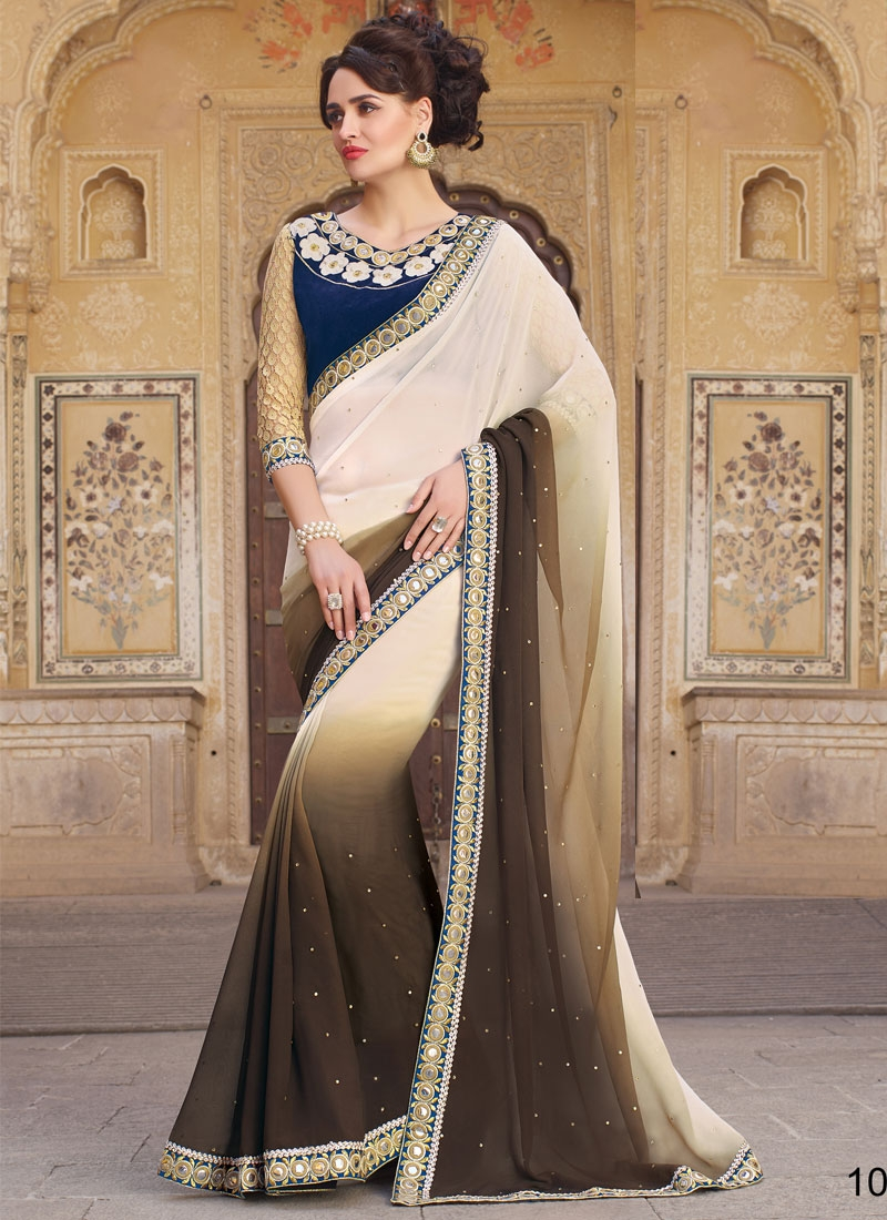 Beguiling Mirror And Stone Work Party Wear Saree