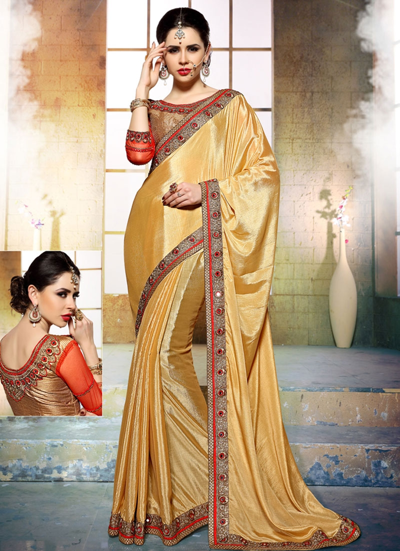 Beguiling Mirror Work Crepe Silk Party Wear Saree